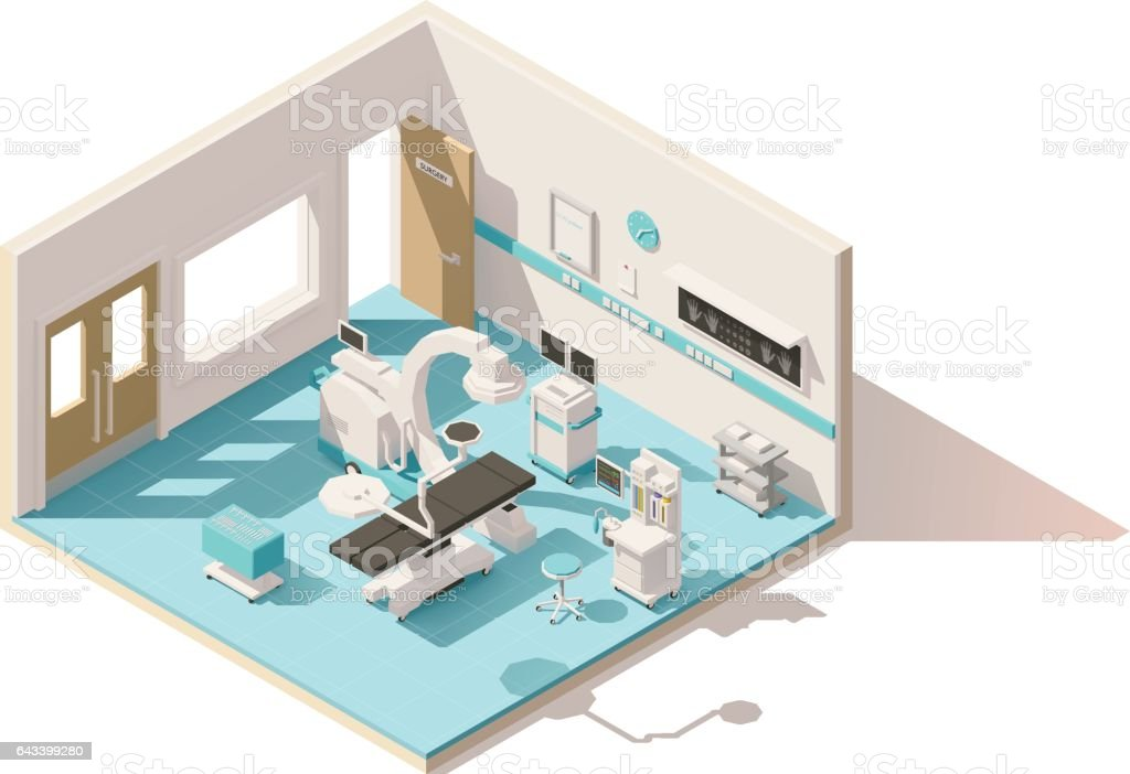 Vector isometric low poly operating room vector art illustration