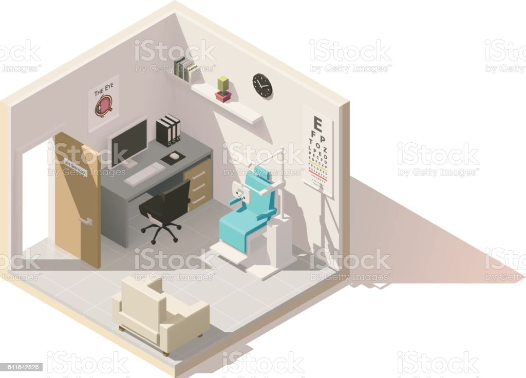 Vector isometric low poly ophthalmologist office vector art illustration