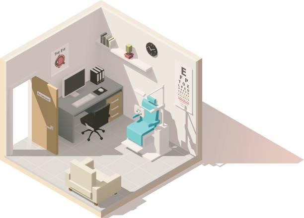 ilustraciones, imágenes clip art, dibujos animados e iconos de stock de consultorio de oftalmólogo vector isométrica polietileno baja - optometrista