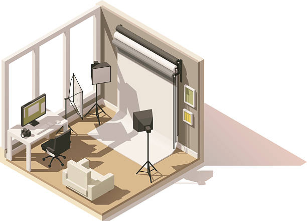vector isometric low poly photo studio room icon - fotostudios stock-grafiken, -clipart, -cartoons und -symbole