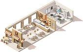 Vector isometric low poly pizzeria interior