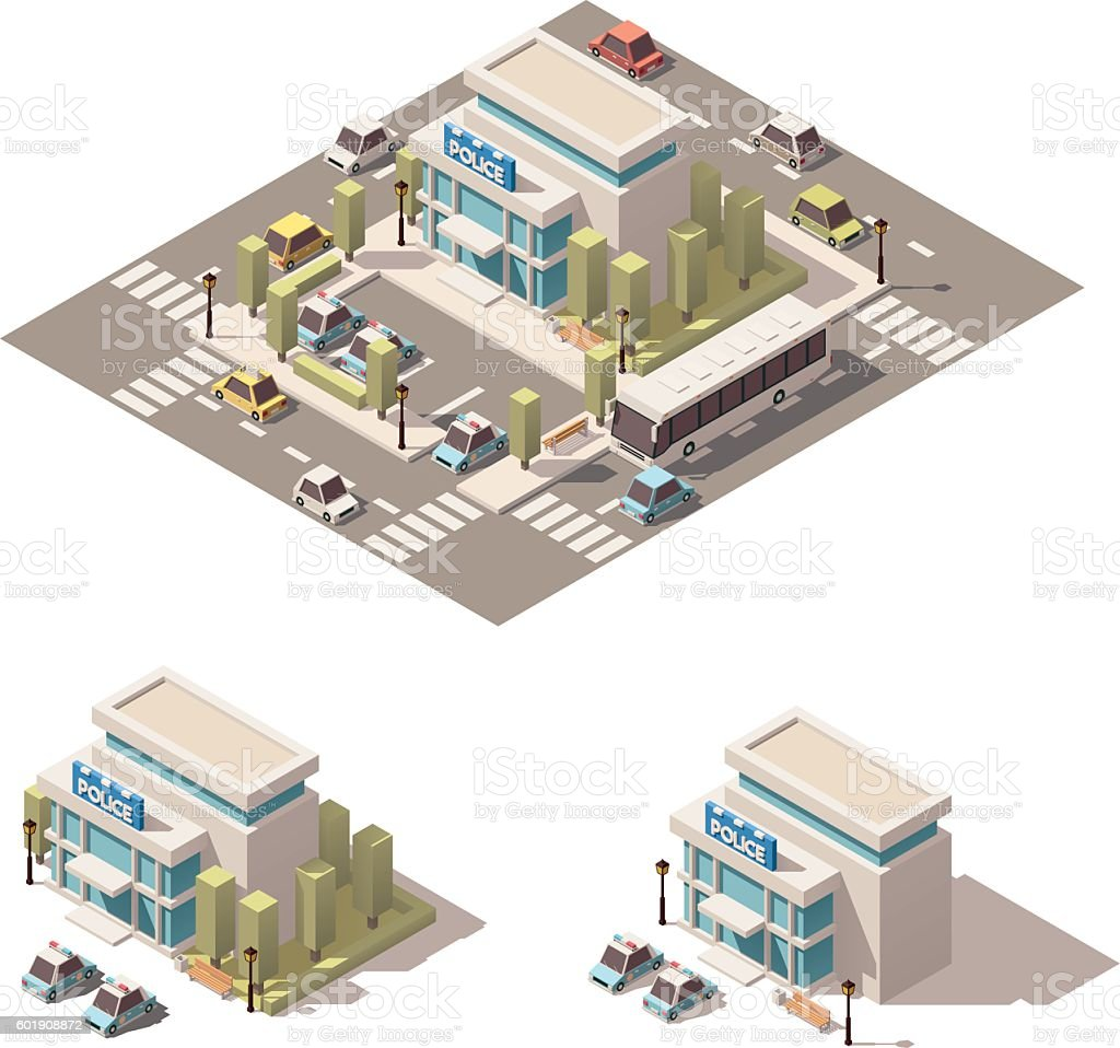 Vector isometric low poly police building icon vector art illustration