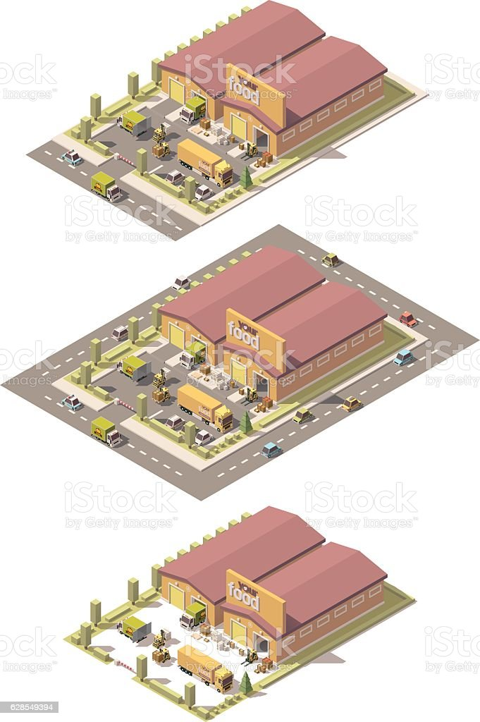 Vector isometric low poly produce warehouse vector art illustration