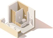 Vector isometric low poly public toilet cutaway icon. WC room includes washbasin, toilets in cubicles, hand dryer, urinal