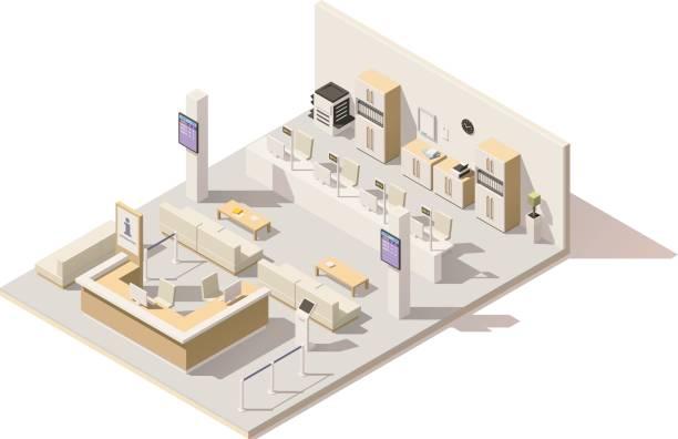 illustrations, cliparts, dessins animés et icônes de système de gestion de file d'attente vecteur isométrique low poly - hall d'accueil