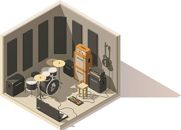 Vector isometric low poly recording studio icon vector art illustration