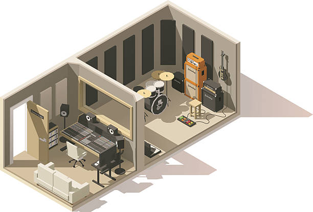 Vector isometric low poly recording studio icon Vector isometric low poly recording studio icon. Includes recording and mixing spaces, guitars, drums, mixer and other equipment mixing stock illustrations