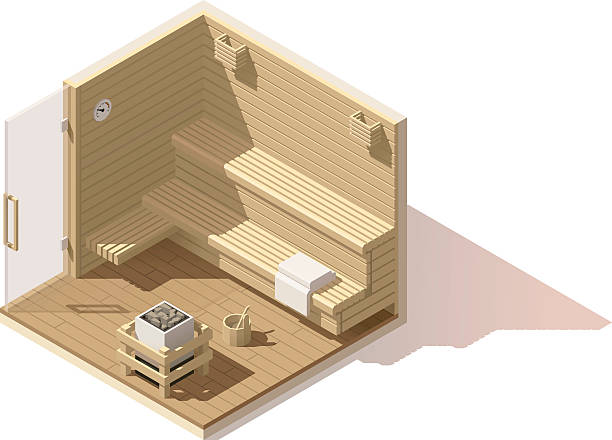 vector isometric low poly sauna room icon - sauna stock-grafiken, -clipart, -cartoons und -symbole