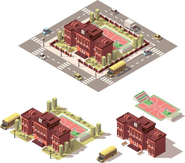 vector isometric low poly school building icon - gymnasium stock-grafiken, -clipart, -cartoons und -symbole