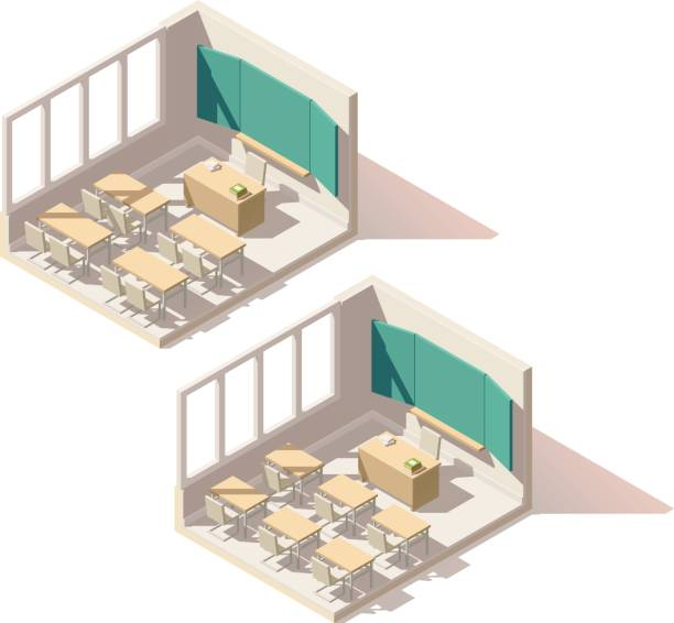 vektor-isometrische low-poly-klassenzimmer - halbwände stock-grafiken, -clipart, -cartoons und -symbole