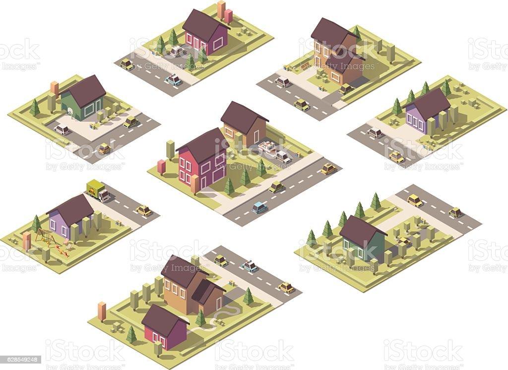 Vector isometric low poly suburban buildings vector art illustration