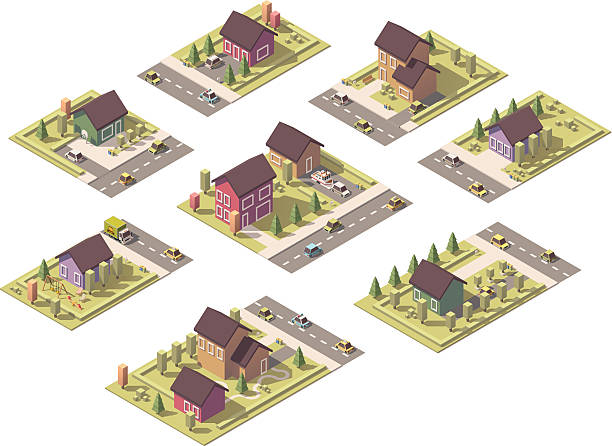 stockillustraties, clipart, cartoons en iconen met vector isometric low poly suburban buildings - garden house