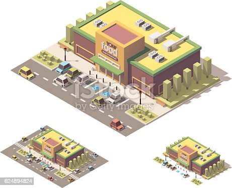Vector isometric low poly grocery store building