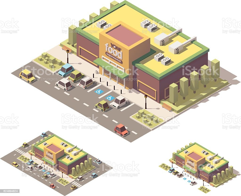 Vector isometric low poly supermarket vector art illustration