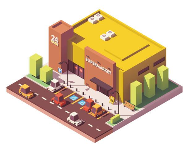 illustrazioni stock, clip art, cartoni animati e icone di tendenza di vector isometric low poly supermarket - prodotti supermercato