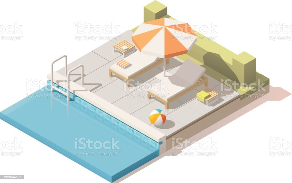 Vector isometric low poly swimming pool vector art illustration