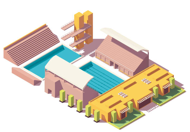 ilustrações de stock, clip art, desenhos animados e ícones de vector isometric low poly swimming pool - jump pool, swimmer