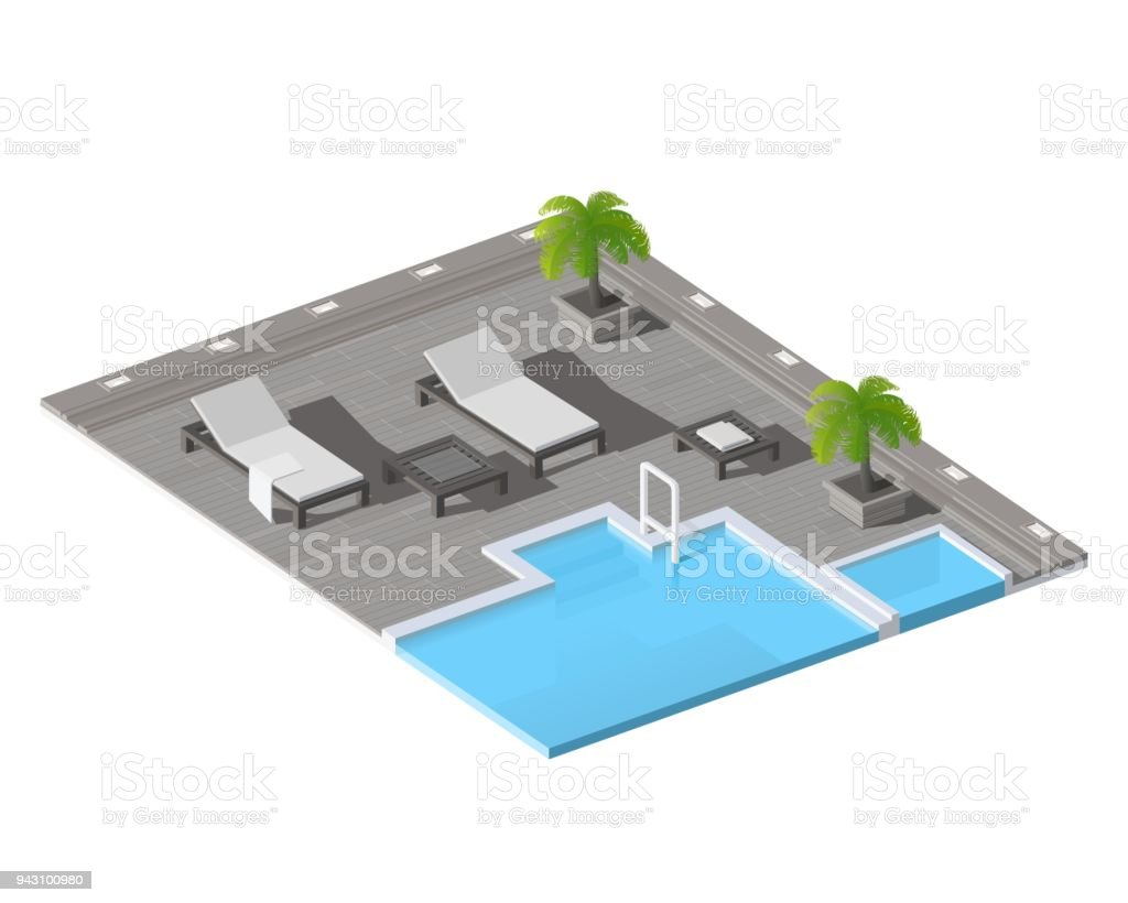 Vector Isometric Low Poly Swimming Pool With Lounge Chairs Stock ...