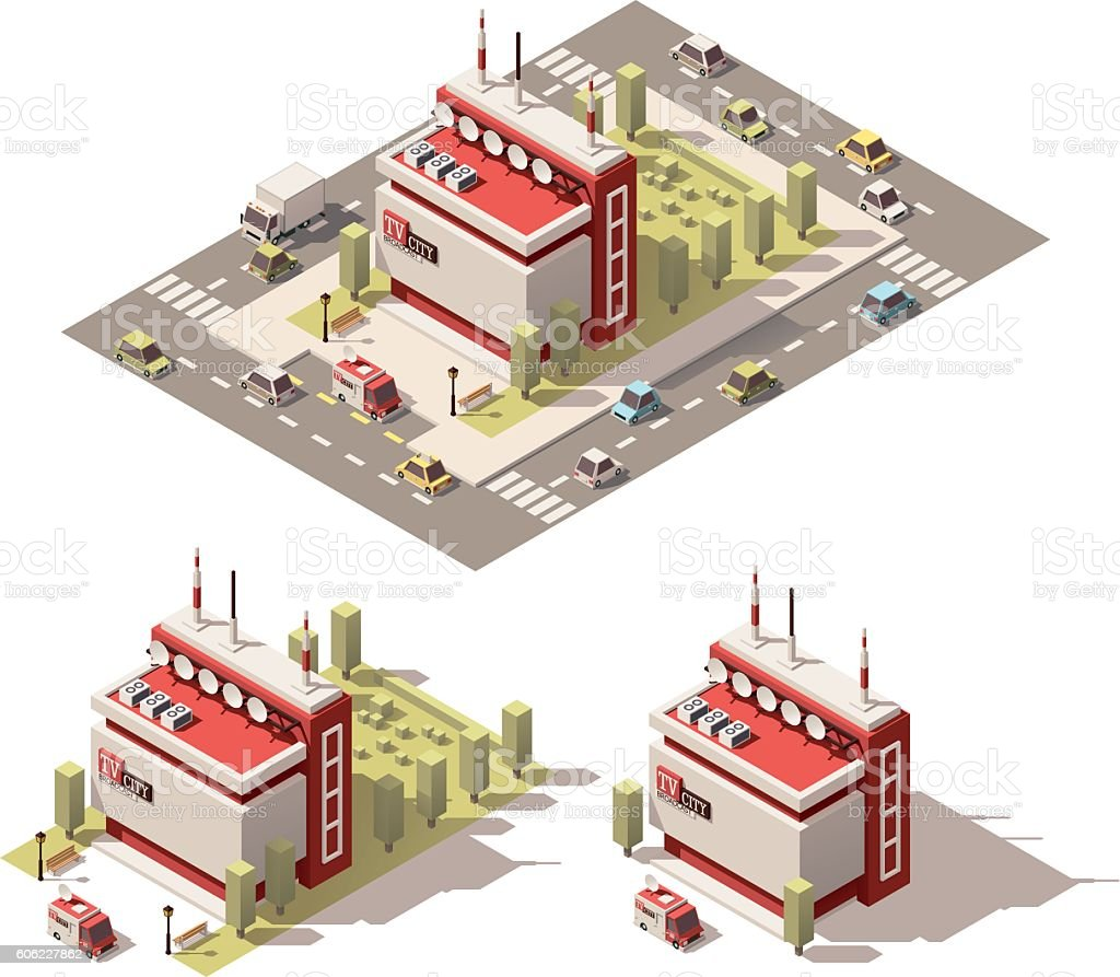 Vector isometric low poly television centre building icon vector art illustration
