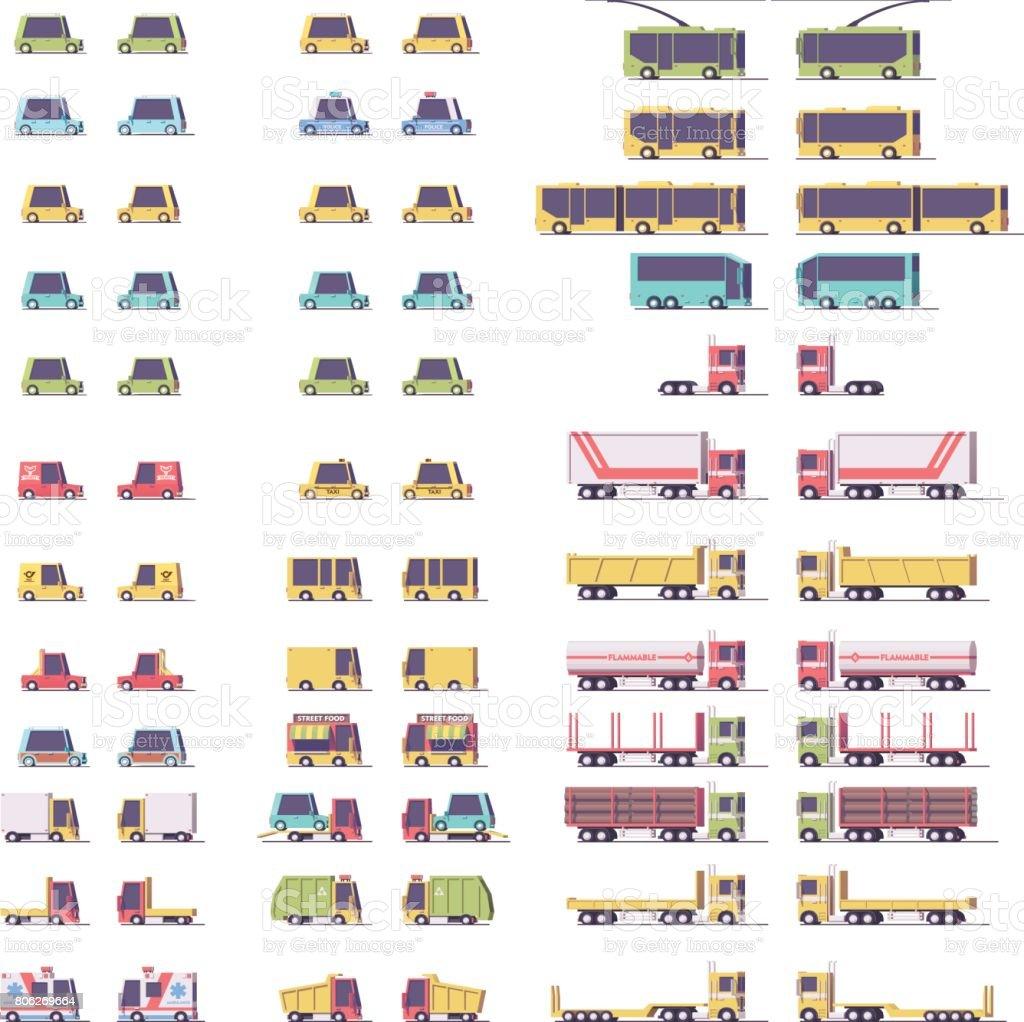 Vector isometric low poly transport set vector art illustration