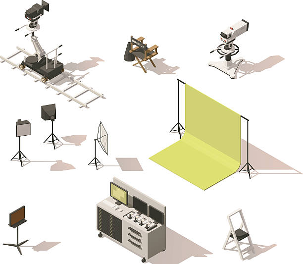 Vector isometric low poly video equipment set Vector isometric low poly movie and tv video equipment set. Includes video cameras, camera dolly, lighting and other movie shooting process equipment studio stock illustrations