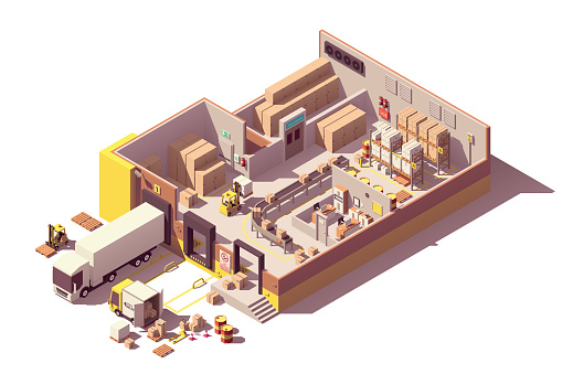 Vector isometric low poly warehouse cross-section