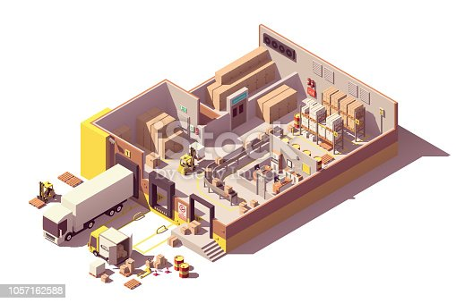 istock Vector isometric low poly warehouse cross-section 1057162588