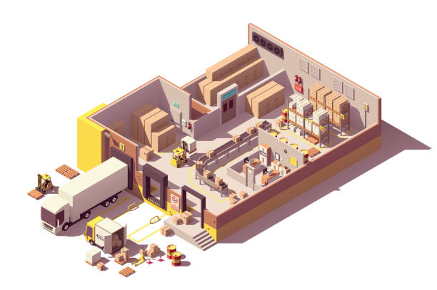 ilustrações de stock, clip art, desenhos animados e ícones de vector isometric low poly warehouse cross-section - interior