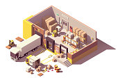 Vector isometric low poly warehouse cross-section. Includes trucks with crates, pallets, loading docks, building interior, pallet racking systems, stacks of cardboard boxes, forklift, security camera