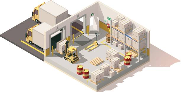 vector isometric low poly warehouse - warehouse stock illustrations