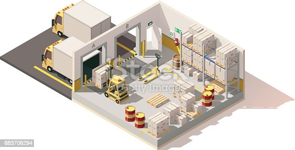 Vector Isometric Low Poly Warehouse Stock Vector Art