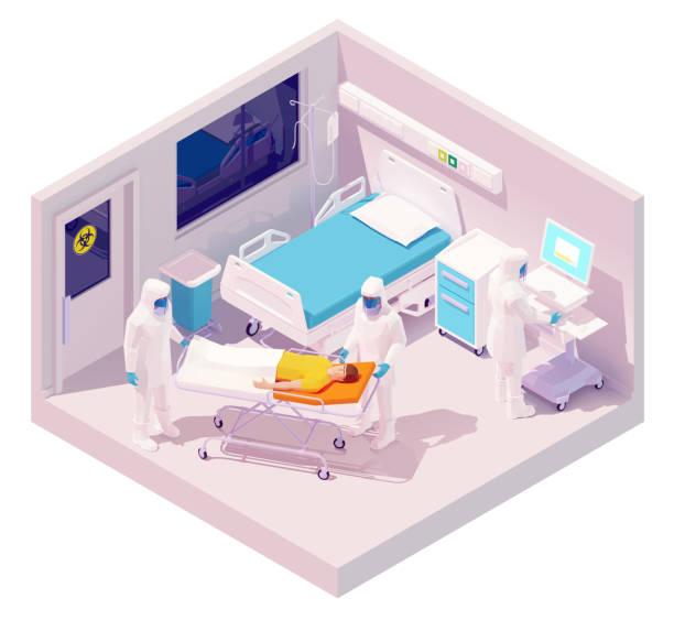 Vector isometric man hospitalization with coronavirus disease vector art illustration