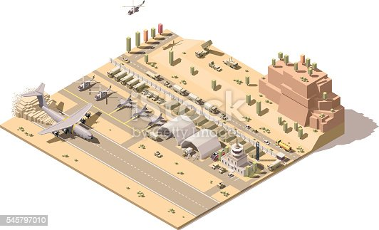 Vector isometric low poly desert military airport or airbase with jet fighters, helicopters, military ground vehicles, structures, control tower and cargo airplane landing on dusty airstrip