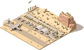 Vector isometric map of military airbase