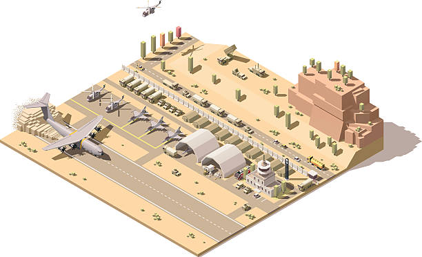 Vector isometric map of military airbase Vector isometric low poly desert military airport or airbase with jet fighters, helicopters, military ground vehicles, structures, control tower and cargo airplane landing on dusty airstrip airfield stock illustrations