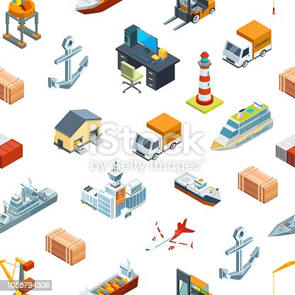 Vector isometric marine logistics and seaport pattern or background illustration. Transportation seaport, freight container