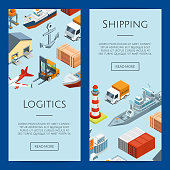 Vector isometric marine logistics and seaport web banner and page poster templates illustration