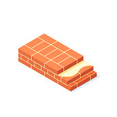 Brick wall isometric concept. Masonry items in flat style. Vector illustration on a white background.