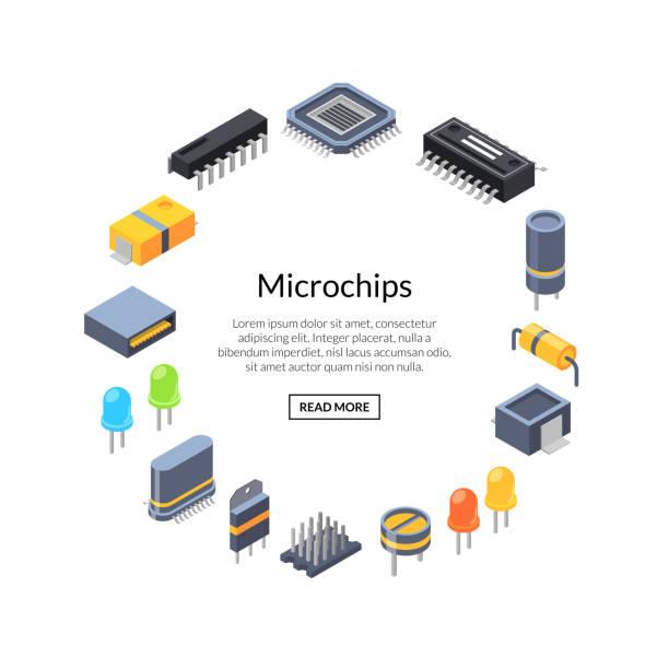 ベクトル等尺性マイクロ チップと電子部品アイコン - 半導体点のイラスト素材/クリップアート素材/マンガ素材/アイコン素材