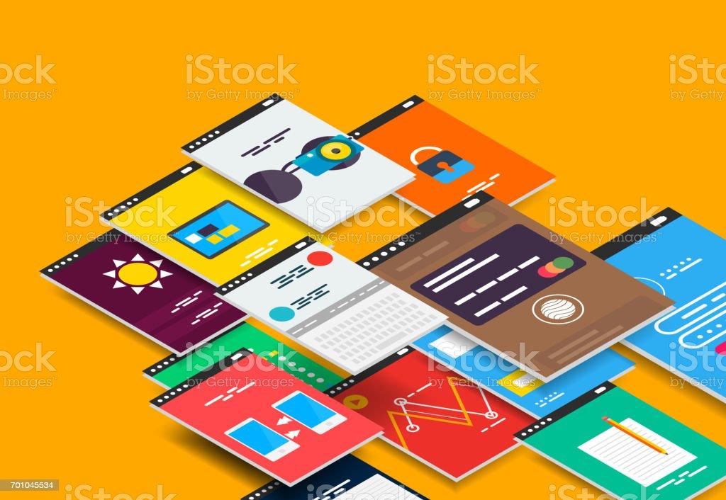 Vector isometric mobile app ui design concept vector art illustration
