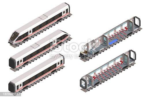 istock Vector isometric modern fast train. Scheme of passenger seats and interior.. 1323991197