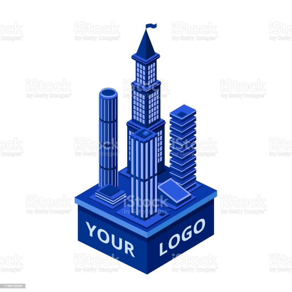 Vector isometric modern skyscraper with your logo space. Urban...