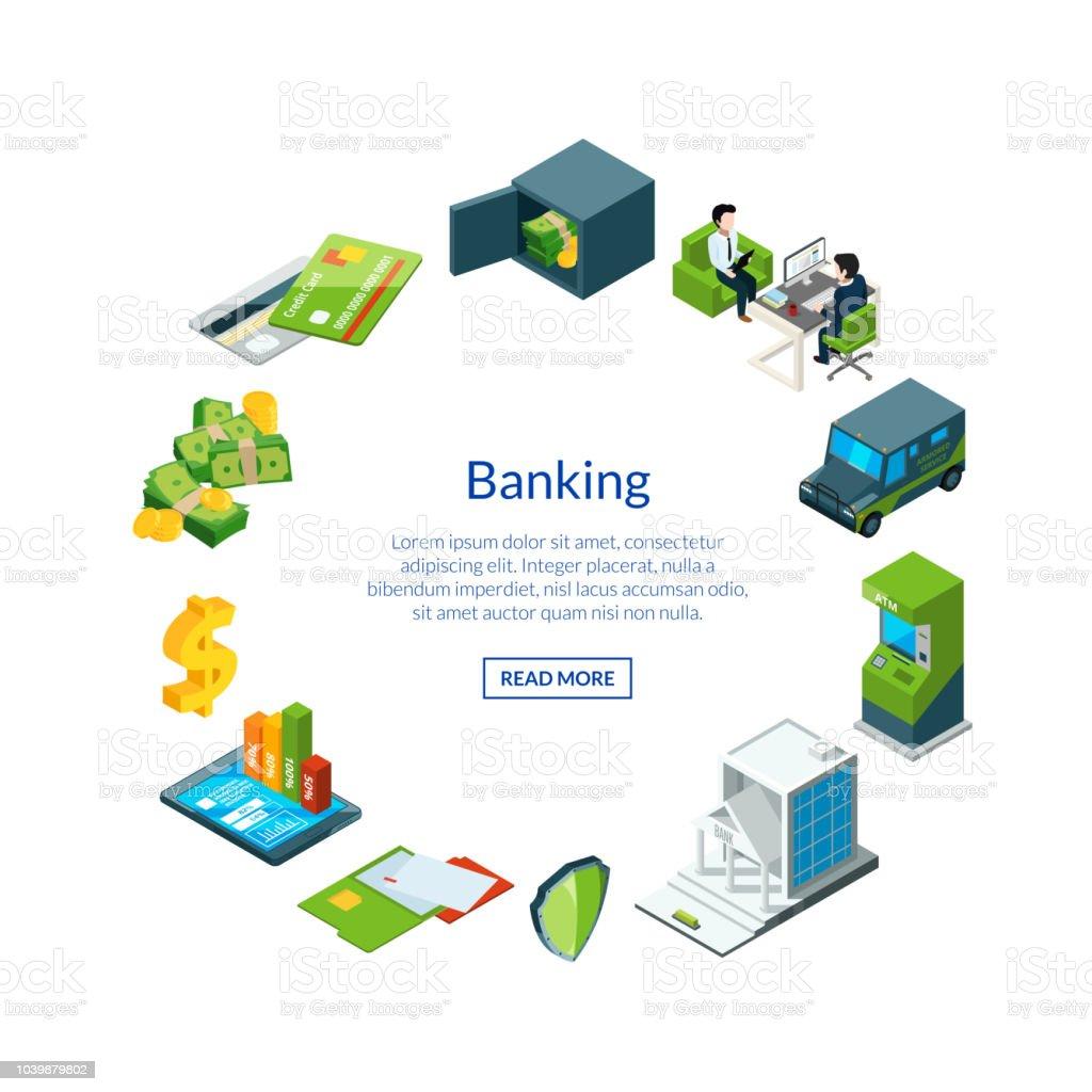 銀行アイコン イラストのベクトル等尺性の資金の流れ アイコンの