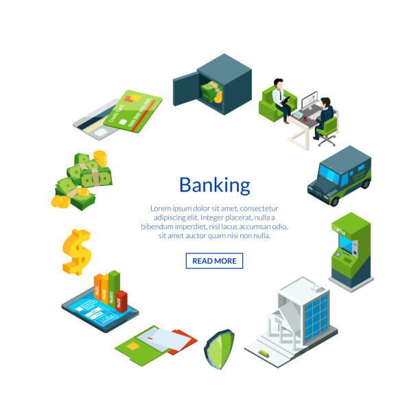 vector isometric money flow in bank icons illustration - bank stock illustrations