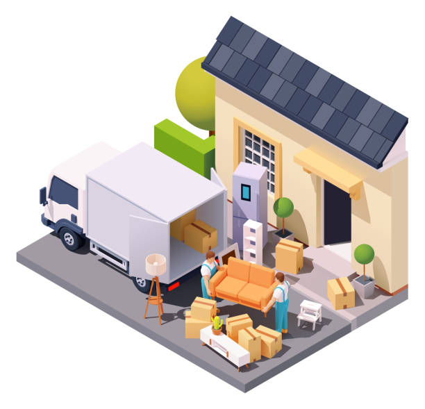 Vector isometric movers at house relocation vector art illustration