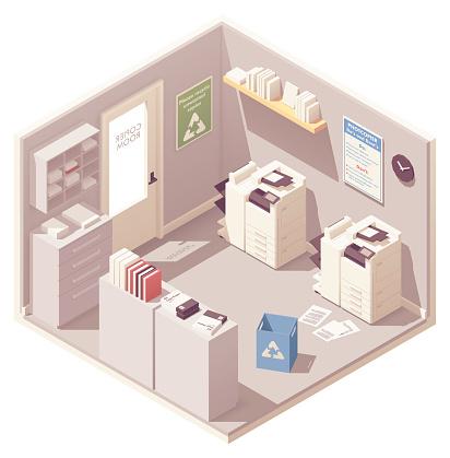 Vector isometric office copy room