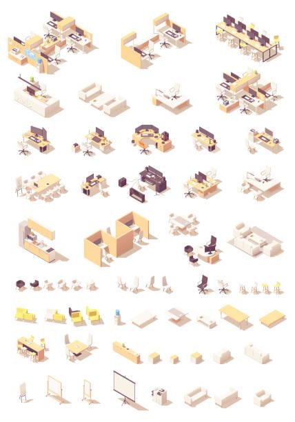 illustrations, cliparts, dessins animés et icônes de mobilier de bureau isométrique de vecteur - hall d'accueil