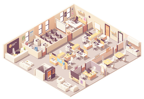 Vector isometric office interior plan clipart