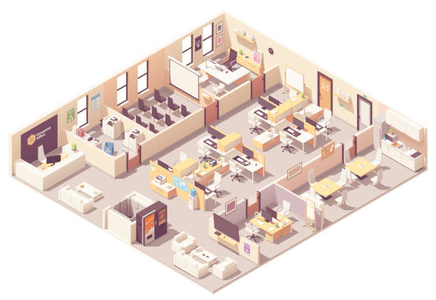 vector isometric office interior plan - office stock illustrations