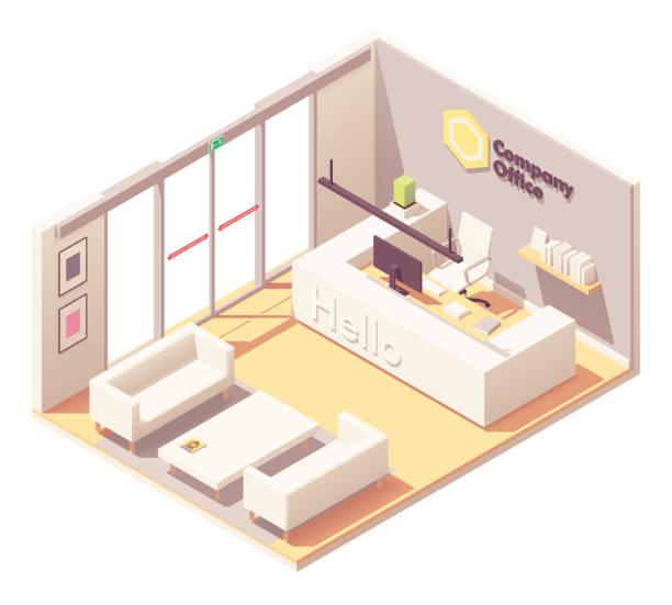 vektör izometrik ofis resepsiyon - hotel reception stock illustrations